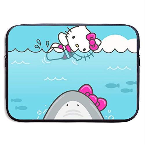 LIUYAN Funda para portátil Hello Kitty y Shark Tablet Maletín de Transporte para MacBook Pro/MacBook Air/Notebook de 13 a 15 Pulgadas