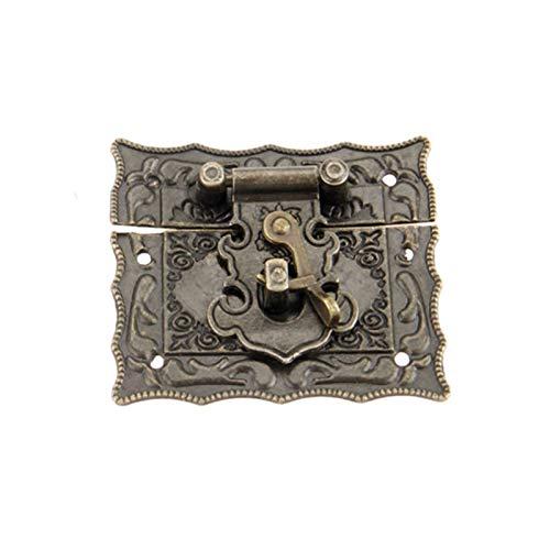 1pc Antiguo Bronce Caja de bronce Clases Class Decorativo Hebilla Joyería Regalo Vintage Caja de madera HANP Gancho de pestillo con tornillos Aleación con tornillos Aleación (Color : 67x56mm)