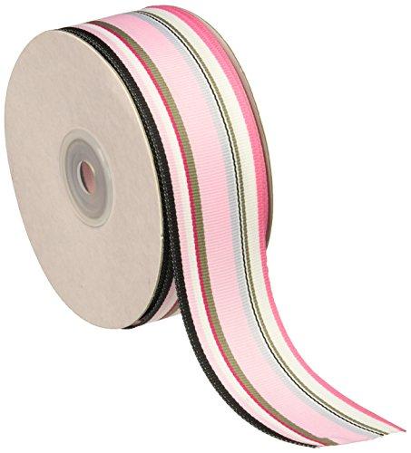 Homeford fhv00004210925yd Regenbogen gestreift Ripsband, 3,8cm Multi/Light Pink
