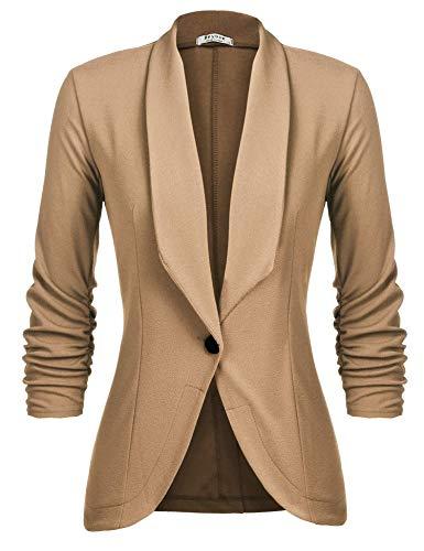 Unibelle Damen Blazer Cardigan Dünn 3/4 Längere Elegant Leicht Bolero Jacke Blazer Slim Fit Anzug Trenchcoat , Aa-hellbraun, 42(Herstellergröße:XL)