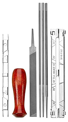 Katzco Chainsaw Sharpener File Kit - Contains 5/32, 3/16, and 7/32 Inch Files, Wood Handle, Depth Gauge, Filing Guide, and Tool Pouch - for Sharpening and Filing Chainsaws and Other Blades