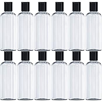 LOYAL TARGET 12 Pack 4oz Plastic Squeeze Bottles with Disc Top Flip Cap BPA-Free Clear Refillable Containers For Shampoo Lotions Liquid Body Soap Creams and More