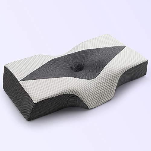 IKSTAR Almohada ortopédica para dormir, almohada de espuma viscoelástica de doble cara, ergonómica, almohada cervical para dolor de cuello y dormir de lado, para dormir de lado y espalda y estómago
