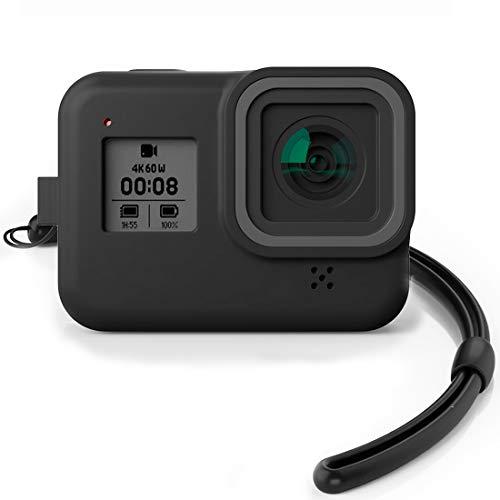 ONCCI siliconen beschermomhulsel rubberen beschermbehuizing met draagband/screen protector voor GoPro Hero 8 Action Camera Accessoires Black
