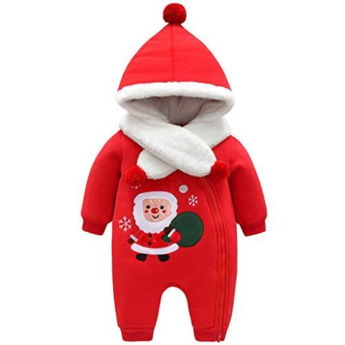 Bebé Mono de Lana Navidad Mameluco Invierno Body Traje de Dormir Linda Papá Noel Reno Peleles