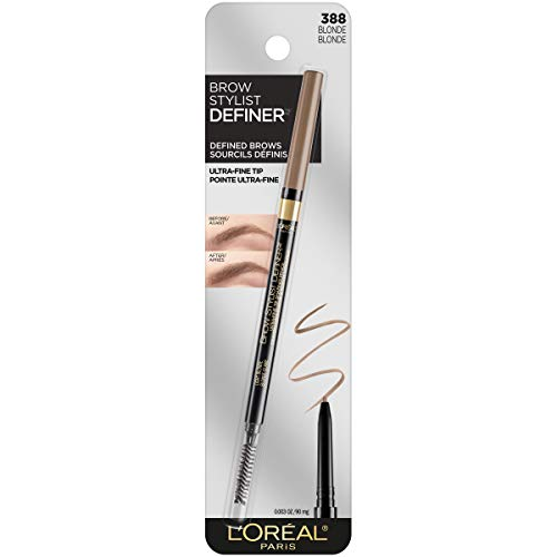 L'Oreal Paris Makeup Brow Stylist Definer Waterproof Eyebrow Pencil, Ultra-Fine Mechanical Pencil, Draws Tiny Brow Hairs & Fills in Sparse Areas & Gaps, Blonde, 0.003 Ounce (Pack of 1)