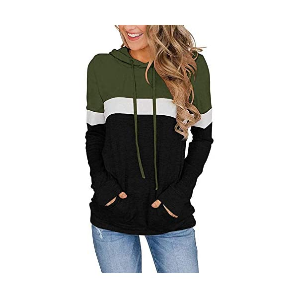 Women Casual Hoodies Color Block Pullover Long Sleeve Tops With Pocket Drawstring Sweatshirts