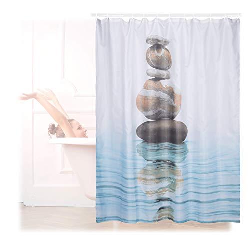 Relaxdays Cortina Baño Lavable con Estampado de Piedras sobre Agua, Poliéster, Azul, 180 x 180 cm