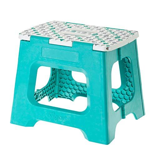 VIGAR Taburete Compact Geom Plegable de 27 cm de Color, Turquesa/Geometrico On Top, 33 x 27 x 27