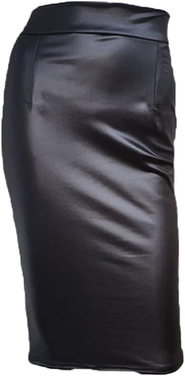 TBYTA European and American Style High Waist Faux Leather Skirt Back Zipper Slit Skirt