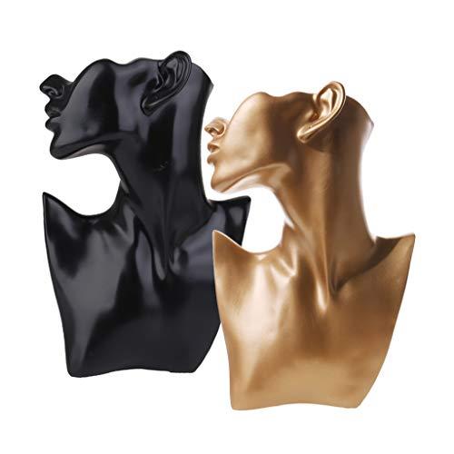 Baoblaze 2 Unids Collar de Exhibición del Estante de Resina Colgante Pendiente de Cadena Cuelga El Busto de La Joyería