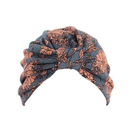 Surkat Women Pleated Twist Turban African Printing India Chemo Cap Hairwrap Headwear