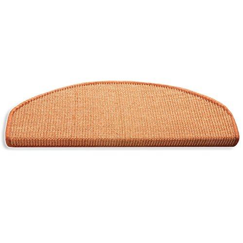 Floordirekt 15 x Teppich Stufenmatten Treppenstufen | 100% Sisal | wohnlichen Farben | rutschsicher für Mensch und Tier (Maße ca. 64 x 23,5 cm) (Terra)
