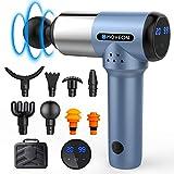 Massagepistole Massage Gun mit 20 Geschwindigkeiten und 8 Massageköpfen, LED Anzeige Touchscreen Elektrisch Muskelmassagegerät, Schmerzlinderung für Nacken Schulter, Muskelermüdung zu Entlasten, Blau