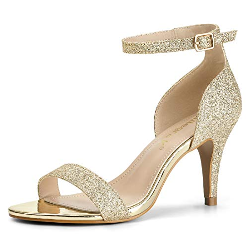 Allegra K Damen Peep Toe Metallic Glitzer Stiletto High Heels Sandalen Gold 42