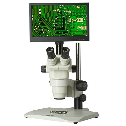 TMS-CX3-99T-V3 6.5x-45x - Premium Digital Zoom Stereo Microscope - HDMI Camera - 12' LCD Display - Pole Stand - 80 LED Ring Light - C-Mount for 99T