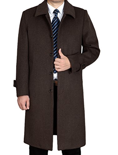 Vogstyle Herren Mantel Neu Wolljacke Lang Umlegekragen Wollmantel Warm Trenchcoat Business Windbreaker Überzieher Style 1 Kamel XL