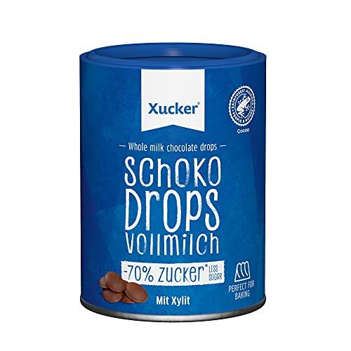 Xucker Schoko Drops Vollmilch Schokolade - Zuckerreduzierte Xucker Schokolade mit Xylit Zuckerersatz I Xucker Chocolate Drops als Süßungsmittel zum Backen (min. 42{ae6c6741b65b6c26a6c1670219a6ba11c12087c08bf20d064117b0a27ea81fcc} Kakaoanteil / 200g)
