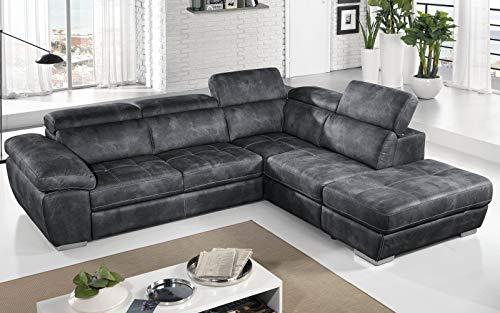Dafne Italian Design - Sofá cama esquinero de 3 plazas con chaise longue a la derecha Piel sintética efecto nobuk grafito (cm. 285 x 245 x 97 cm.