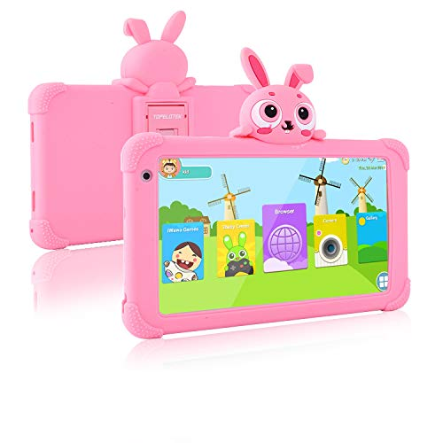 Kids Tablet, 7 inch Wi-Fi Toddler Tablet for Kids, 16GB Storage 1024x600 IPS HD Display, Android 9.0 Child Edition Tablets for 2-5, Parental Controls & Learning APP Preinstalled, Kid-Proof Case, Pink