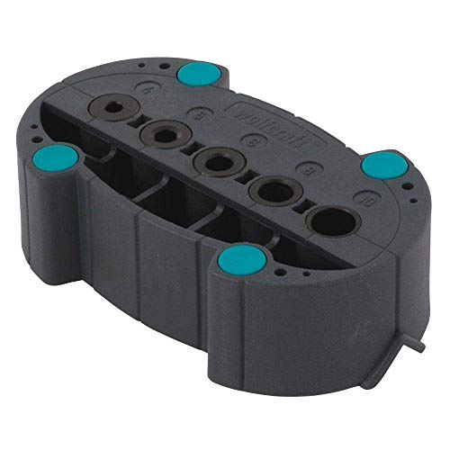 Wolfcraft accumobil Mobile Bohrhilfe 4685000 / Handliches Bohrzubehör für rechtwinkliges und präzises Bohren mit praktischen Bohrbuchsen und Positionierungslinien