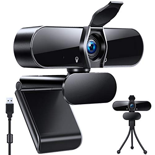 Webcam 1080P,AutoFocus 4K Webcam with Microphone,120 Degree Angle View Web Camera with Privacy Cover,Tripod for Windows,Mac iOS,Video Conference,Online Classes,Game Live,Zoom,MSN and Skype