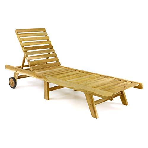 Divero GL05657 klappbare Sonnenliege Gartenliege Relaxliege Holzliege Liege aus unbehandeltem Teak-Holz 200x57x34 extra hohe und bis zur Liegeposition verstellbare Rückenlehne, Braun