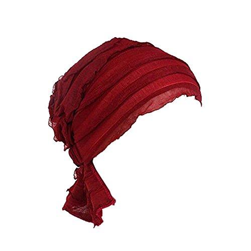 Ever Fairy Ever Fairy 3 Farben Packung Chemotherapie Krebs Kopf Schal Hut Kappe ethnisch Stoff Aufdruck Turban Kopfbedeckung Damen Damen Rüsche Beanie Schal - Wein Rot (1 Teil), One Size