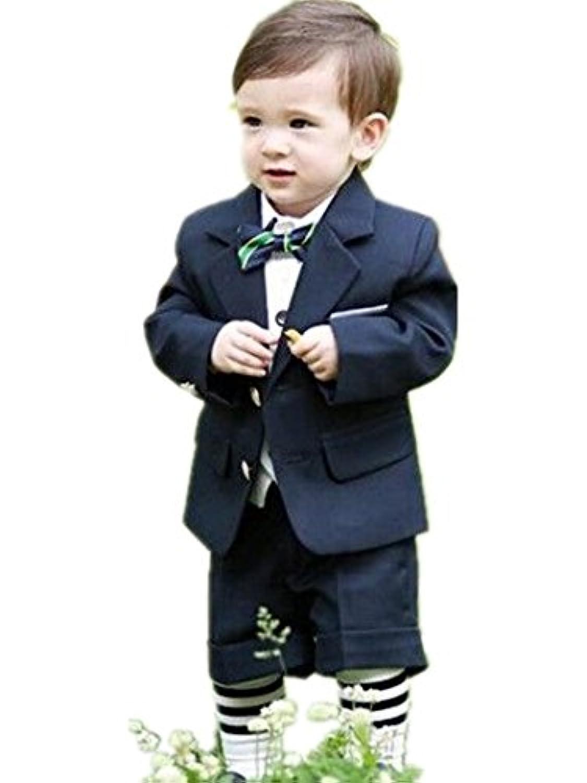 子供スーツ キッズ服 男の子衣装 ズボン、ジャケット、シャツ、ベスト、蝶結び 5点セット 卒業式/入園式/発表会/七五三/ 80~140cm