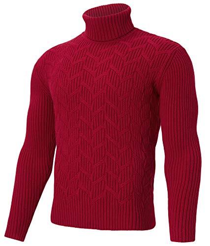 RAISEVERN Herren Bordeaux Red Jumpers Rollkragenpullover mit Langen Ärmeln Strickpullover mit dünnem Rundhalsausschnitt L.