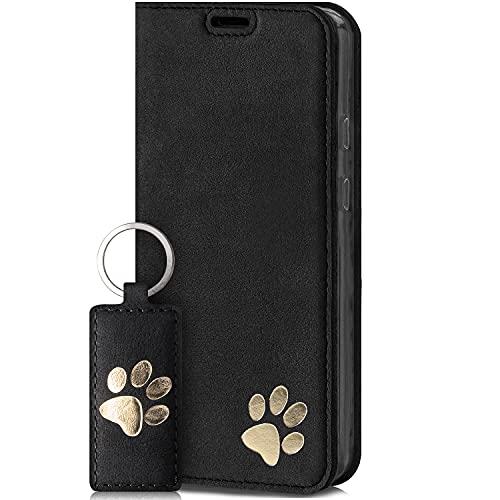 SURAZO Smart Magnet Handyhülle für Apple iPhone 12 Pro Max – Premium Echtleder Hülle mit Pfote Motiv - Klapphülle mit [Kartenfach, RFID Schutz] – Schutzhülle Wallet case Handmade in EU (Schwarz)