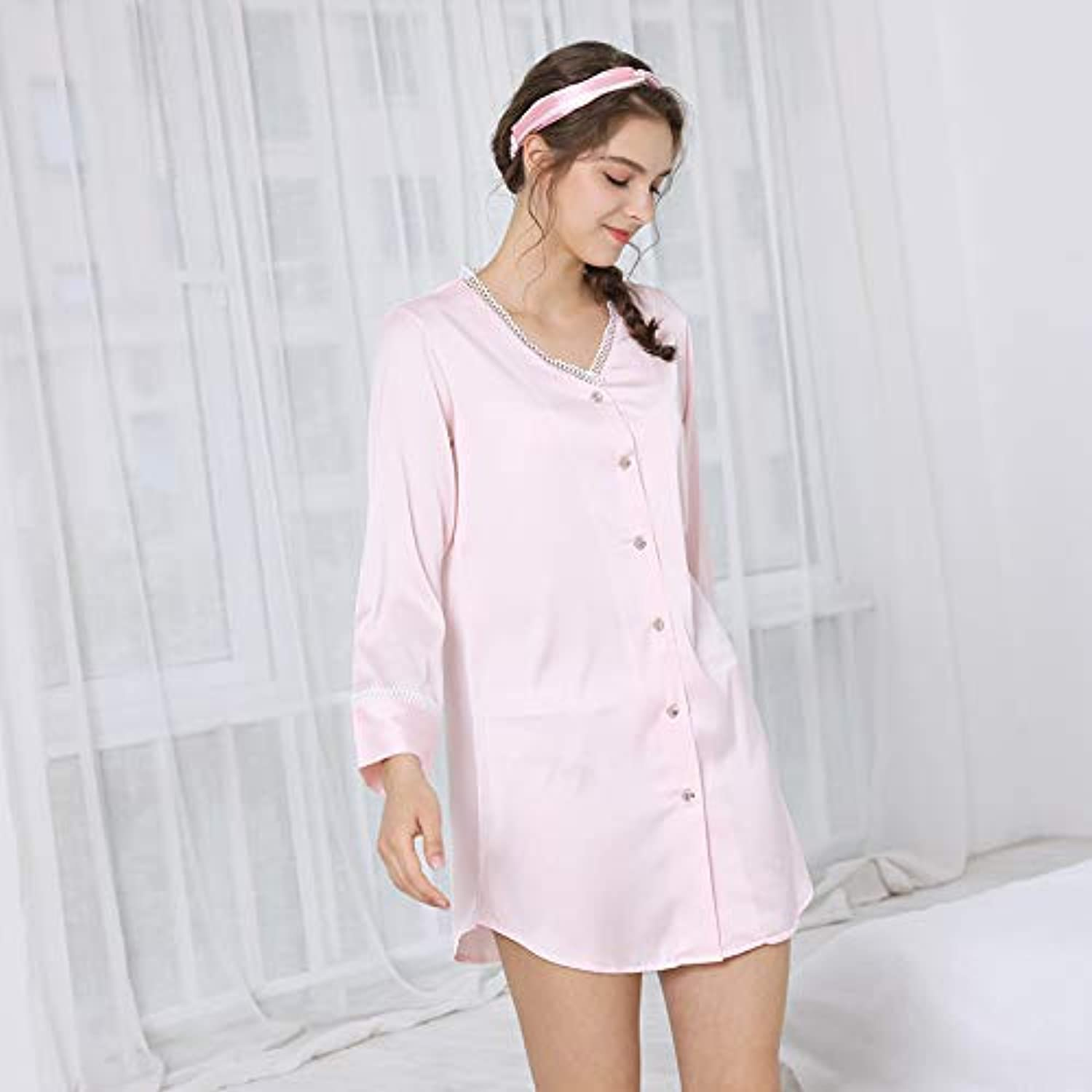 Cute Pajamas Sexy Pajamas Summer Girls Loose Nightdress LongSleeved VNeck Simulation Silk Silk Home Service (color   Pink, Size   L) Sexy Sleepwear (color   Pink, Size   Large)