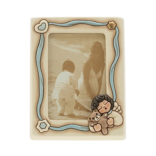 THUN K2938H98 Portafoto Angel Boy, Ceramica, Blu Soft, 18 x 21 x 5.9 cm