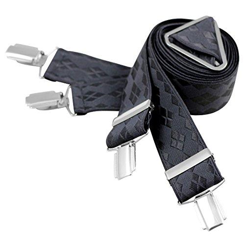 Lindenmann Mens Braces/Suspenders/mens suspenders, X-shape, 35 mm stetch, XXL, anthracite, 7466-060, Größe/Size:110