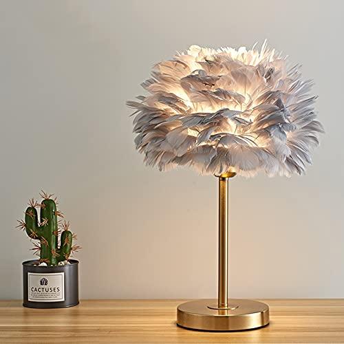 QQYY Lámpara de Mesa de Plumas romántica, Elegante Dormitorio cálido lámpara de Noche Modernas Escritorio es Adecuado iluminación Suave Ambiente romántico luz para Sala de Estar Sala de Bodas,Gris,B