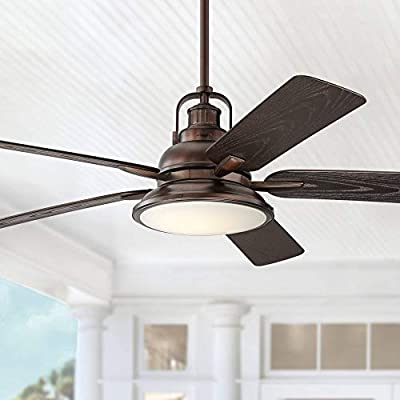 """60"""" Wind and Sea Industrial Outdoor Ceiling Fan with Light LED Dimmable Remote Control Oil Brushed Bronze Wet Rated for Patio Porch - Casa Vieja"""