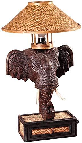 ZZTX Lámpara de Mesa de Elefante del sudeste asiático, lámpara de Noche para Dormitorio, Personalidad Creativa tailandesa, lámpara de Mesa Retro nostálgica para Bar, decoración de Hotel