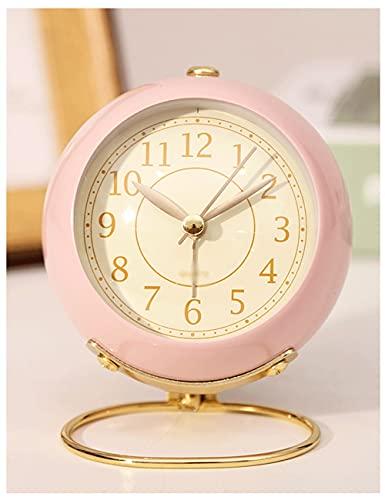 Lhl Reloj Despertador para niños, Reloj de Alarma de luz de Noche silenciosa de Metal Redondo Lindo Que se Puede atenuar, para niños de Estudio. (Color : Pink)