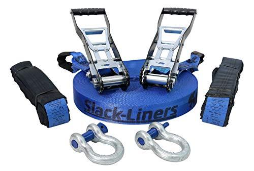 Slack-Liners Slackline Komplett-Set BLAU 7 Teilig - 50mm breit, 40m lang - mit Premium Langhebelratsche Longline Made in Germany
