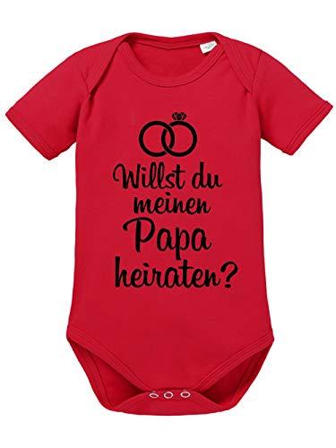 clothinx clothinx Willst Du Meinen Papa heiraten?   Schönes Geschenk für den Antrag an den Partner   Qualitativ Hochwertig Bedruckt   100% Bio-Baumwoll Baby-Body Bio Rot Gr. 50-56