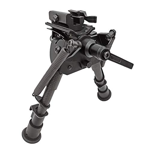 FeelRight 6-9 Inch Tactical Carbon Fiber Hunting Bipod Quick Release Swivel Style with Podlock for Picatinny Rail or Sling Swivel Studs