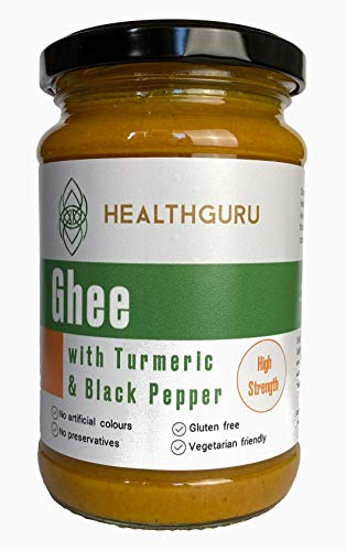 Health Guru HIGH Strength Golden Ghee with Turmeric and Black Pepper | Grass fed Farms | No Colours | No Preservatives | High in Vitamin A+D | Gluten Free | Vegetarian Friendly| U.K. Product