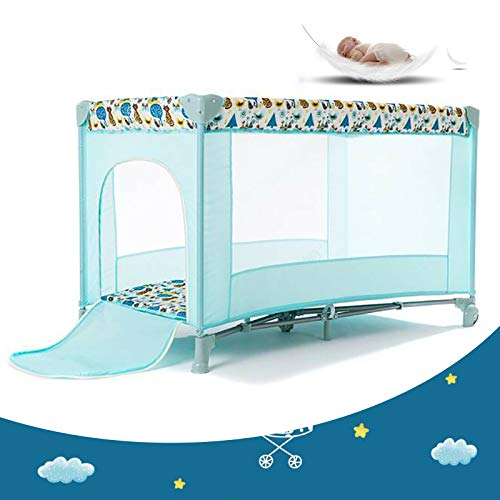 Reisebett - Kinder Reisebett,2 in 1 Reisebett & Laufstall Spiel für Baby und Kinder ab Geburt bis 65 kg / Leicht/Kompakt Faltbar/Inkl.Trage Tasche /Riemenscheiben-Design/120 x 65x76 cm