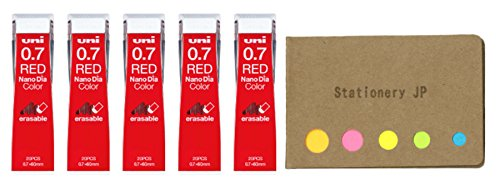 Uni NanoDia Color Mechanical Pencil Leads, 0.7mm, Red, 5-Pack/Total 100 Leads, Sticky Notes Value Set