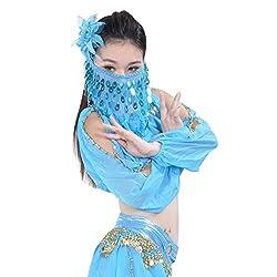 Lake Blue Sequin Beaded Belly Dance Face Veil