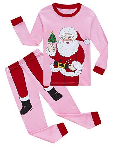 KikizYe Baby Girls Boys Long Sleeve Christmas Pajamas Sets 100% Cotton Pyjamas Infant Kids 18-24 Months Santa Claus Pink