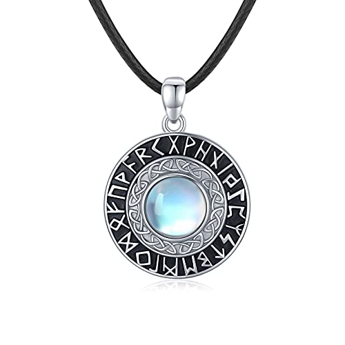 Waysles Moonstone Necklace Norse Viking Runes Round Pendant Necklace 925 Sterling Silver Celtic Nordic Amulet Good Luck Irish Protection Jewelry Gifts for Women Girls Teens