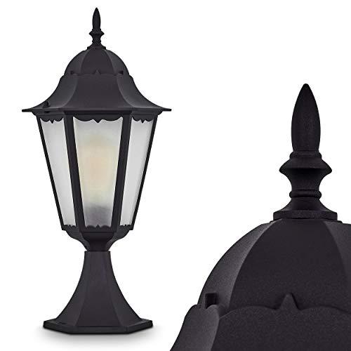 Lampioncino Basso da Esterno Modello Hong Kong Frost- Lanterna da Terra in Alluminio Pressofuso Color Nero e Paralume in Vetro Satinato- Illuminazione per Giardino e Vialetto