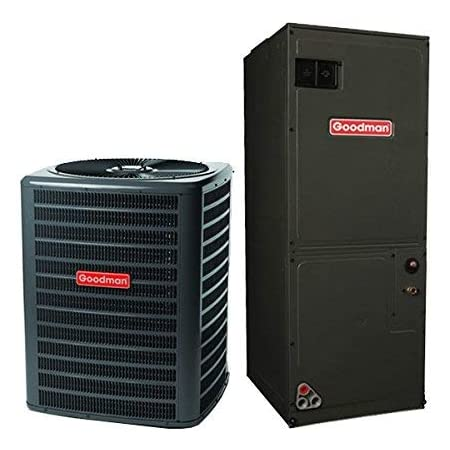 GSX130301 CAPF3030B6 GMVC960603BN TX3N4 Goodman 14.0 SEER 2.5 TON Complete Split air Conditioning System with Furnace Condenser pad and Thermostat Whip Disconnect +Accessories