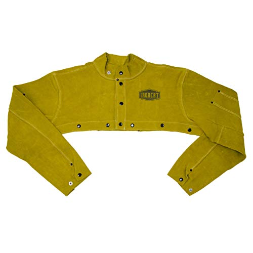 West Chester IRONCAT 7000 Cowhide Leather Welding Cape Sleeve - Golden Yellow, Large Size Cape Jacket with Heat Resistance. Welding Gears